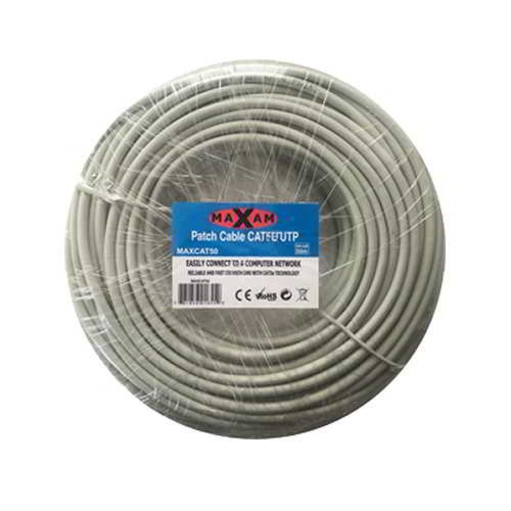 MAXAM Cat5e Moulded 50M Network Patch Lead (Grey)