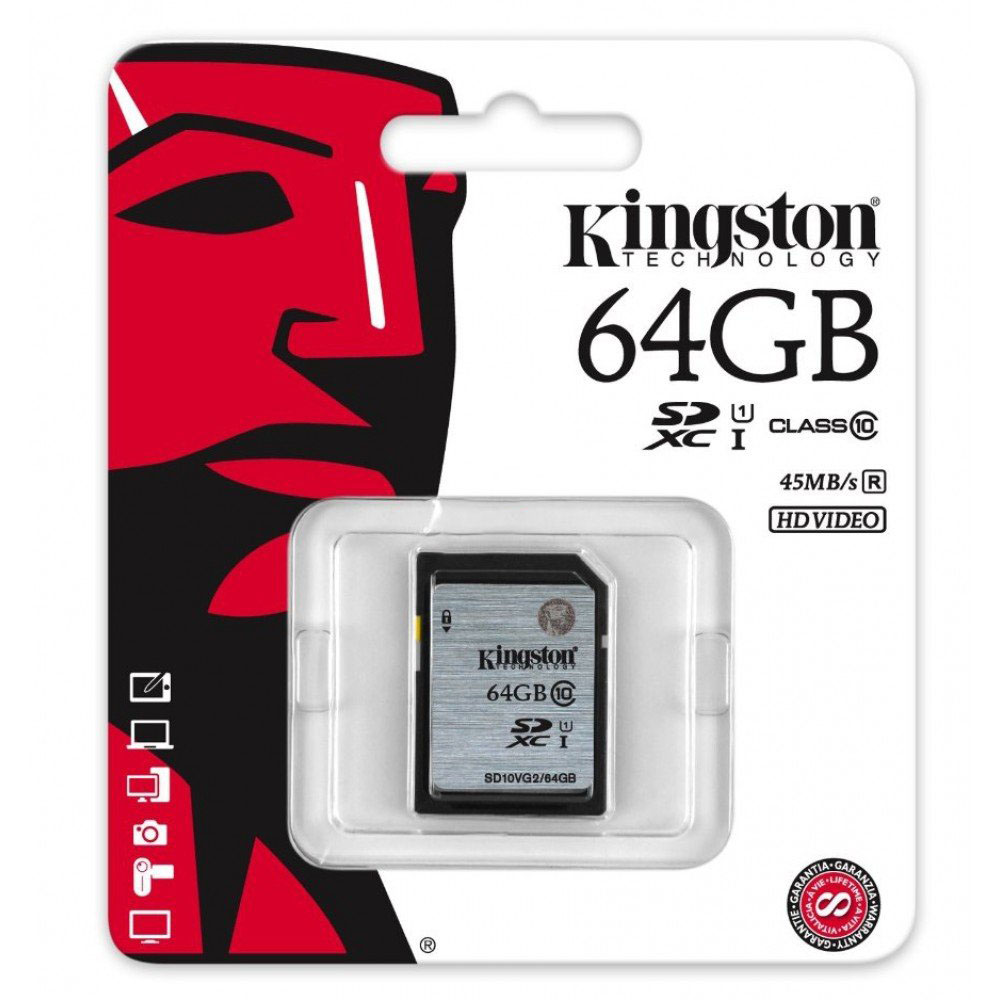 Kingston 64GB SDXC SD Card Class 10 UHS-I Model SD10VG2/64GB