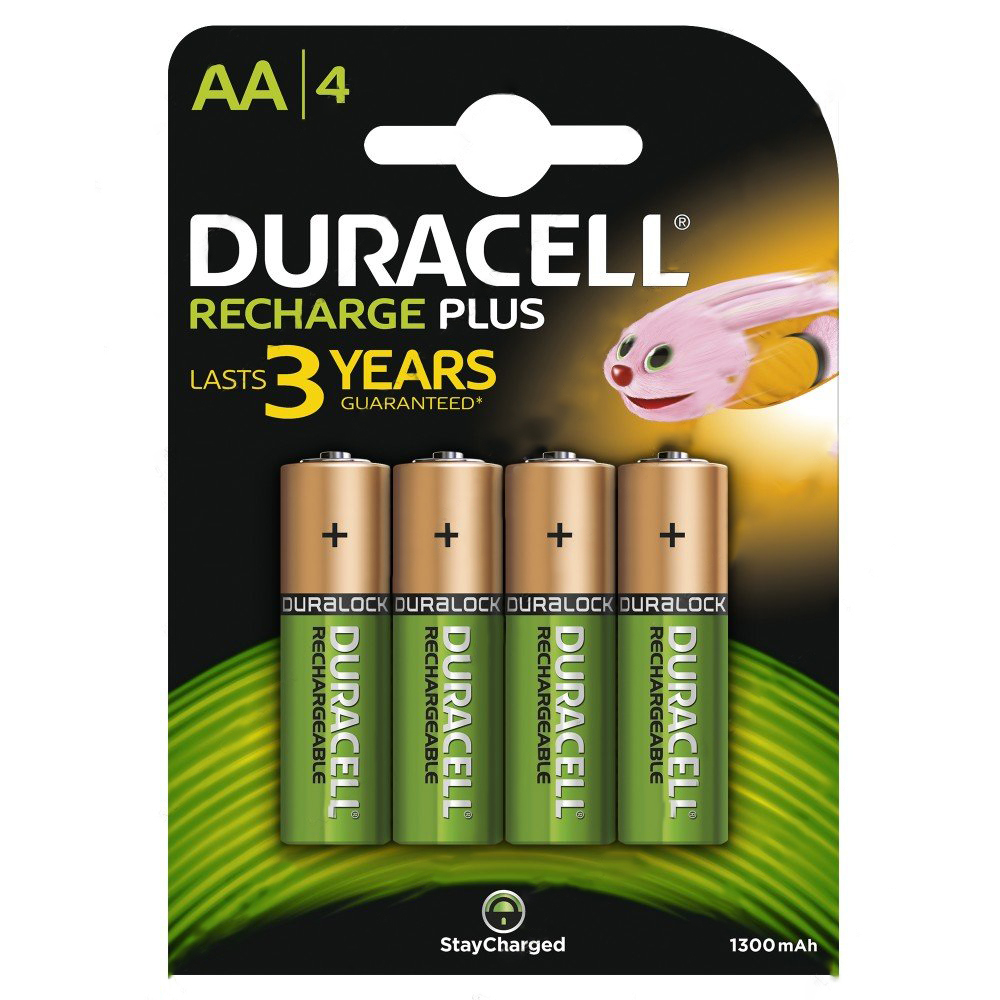 Duracell 81367177 Rechargeable AA Battery Pack of 4 - 1300mAh
