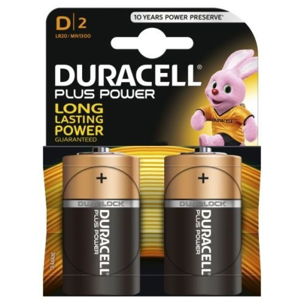 Duracell Plus Power D Size 2 Pack MN1300B2